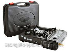 Портативная газовая плита двойного действия с адаптером в кейсе TIGER 66-1