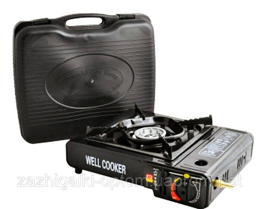 Портативная газовая плита двойного действия с адаптером в кейсе WELL COOKER 66-3