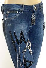 Жіночі джинси Philipp Plein з стразами і принтами, фото 3