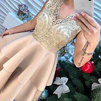 Эффектное нарядное платье с воланамикружево и дайвинг беж, голубой, розовый