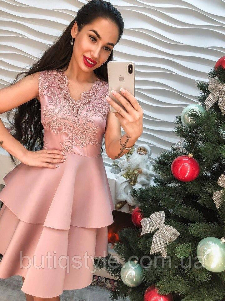Эффектное нарядное платье с воланамикружево и дайвинг только розовый