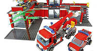 """Игрушка детский конструктор Lepin 02052 (аналог Lego City 60110) """"Пожарная часть"""", (1029 деталей)"""