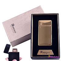 USB запальничка в подарунковій упаковці 4851-Gold (Broad, двостороння спіраль розжарювання)