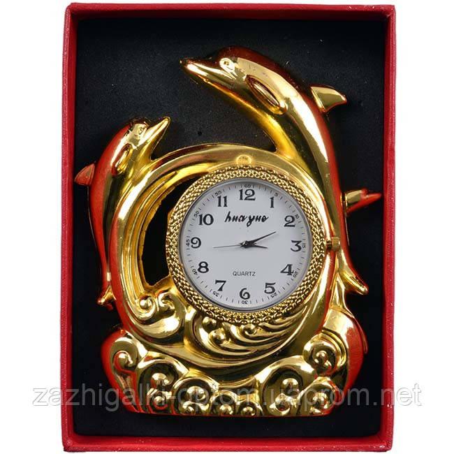 Запальничка настільна з годинником Дельфіни 4373 (Золото)