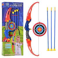Лук M 0037 (18шт) стрелы на присосках, мишень, в кор-ке, 65,5-24,5-5см