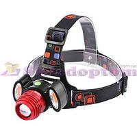Фонарь на лоб + велофара Police 12V 3117-T6+2COB(red), zoom, встроенный 1х18650, ЗУ micro USB, комплект*