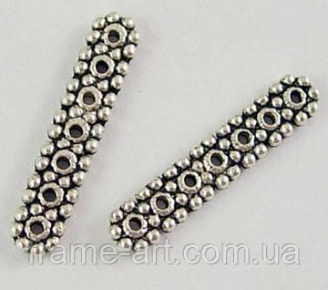 Разделитель для бусин Прямоугольный на 7 нитей 18*4,5мм антическое серебро 4шт