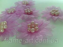 Цветы Маргаритки с жемчужинками 3,5см розовые 10шт Dalprint