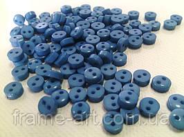 Ґудзик пластикова 2 дірки 6мм синя 161060