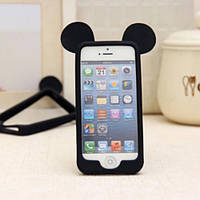 """Силиконовый бампер """"Бампер силикон Мики черный"""" для Apple iPhone 4/4S Чехол-Накладка на мобильный телефон"""