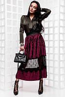 Модная МИДИ юбка плесировка с кружевом (разные цвета)