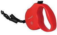 Рулетка Collar control  12кг 5м светоотражающая лента трос красная  81103