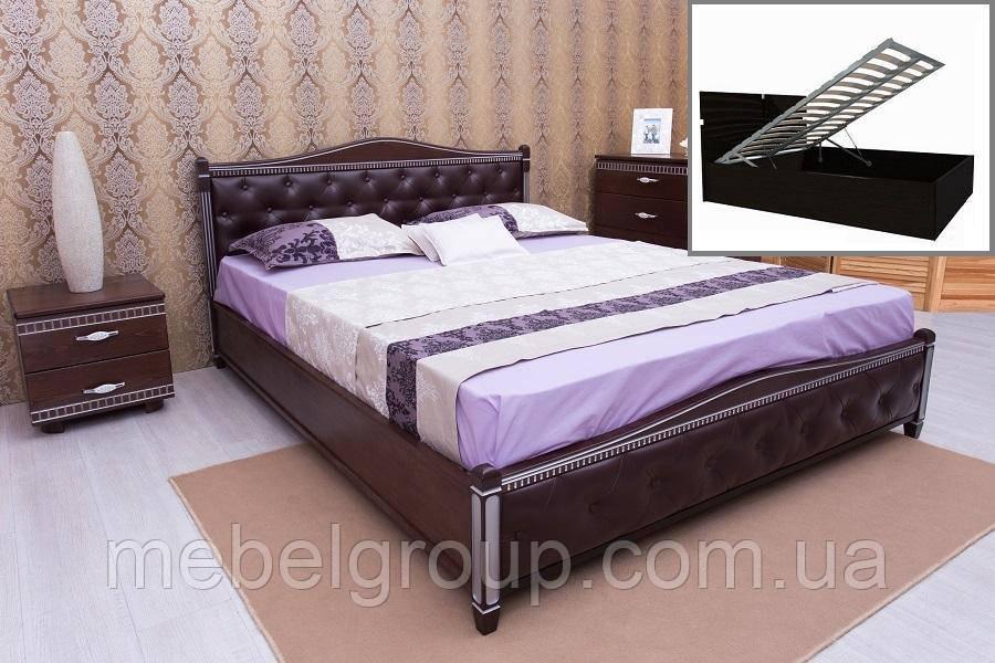 """Ліжко двоспальне Олімп """"Прованс кожзам ромби + патина+механізмом"""" (180*200)"""