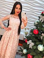 Элегантное длинное платье из органзы с вышивкой