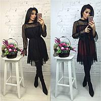 Оригинальное женское платье модного фасона с сеткой