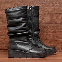 Женские полусапожки (7219.3) 36, 38 - зимние кожаные черные на платформе