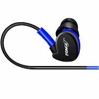 ✓Гарнитура FONGE S500 Синяя вакуумная для занятий спортом с креплением за ухом, фото 3