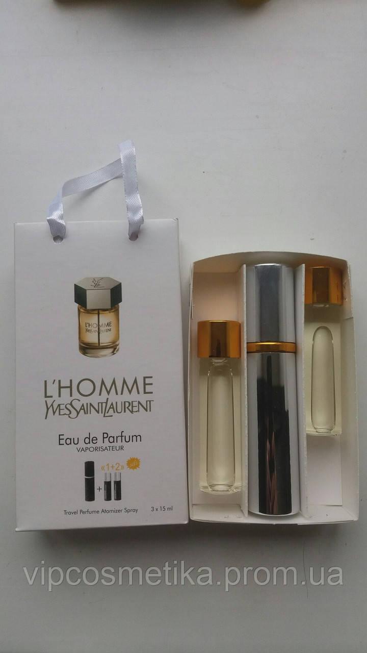 Наборы духов по 15 мл 3 шт L'Homme Yves Saint Laurent