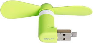 USB-вентилятор GOLF F1- usb+micro Mini Fan Green