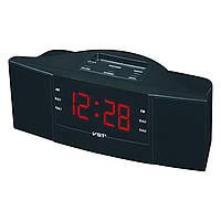 Радио-часы с будильником vst-907-1, красный дисплей, удобное управление, автопоиск радиостанций
