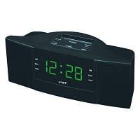 Радио-часы с будильником vst-907-4, салатовый дисплей, удобное управление, автопоиск радиостанций