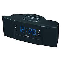 Радио-часы с будильником vst-907-5, синий дисплей, удобное управление, автопоиск радиостанций