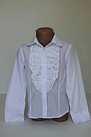 Блуза длинный рукав с жабо р. 122-154 см
