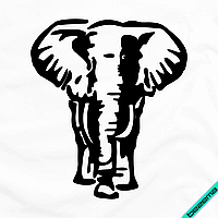 Аппликация, наклейка на ткань Слон [7 размеров в ассортименте] (Тип материала Матовый)