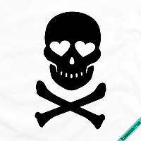 Декор для бизнеса на ветровки Череп кости [7 размеров в ассортименте] (Тип материала Матовый)