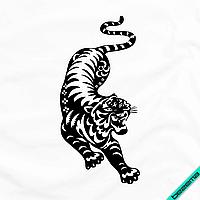 Термоаппликации для бизнеса на рубашки Тигр [7 размеров в ассортименте] (Тип материала Матовый)