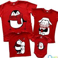 """Новогодний семейный family look """"пингвины нарисованные"""" (красный) Family look"""