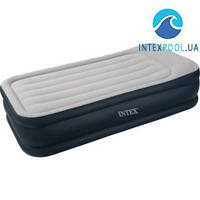 Уценка! Надувная флокированная кровать Intex 67732 с подголовником, серая, со встроенным насосом 220V, 191 х 99 х 43 см