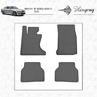 BMW 5 серия E-60/61 2003-2010 гг. Резиновые коврики (4 шт, Stingray Premium)