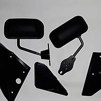 Универсальные зеркала Ф1 черные - матовые, с уголками на Ваз 2108 - 2109