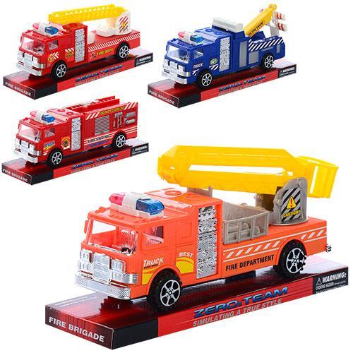 Машинка 963-23-24 (256шт) инер-я, 7см, 4вида(пожарная,эвакуатор), в слюде, 20-9-6см