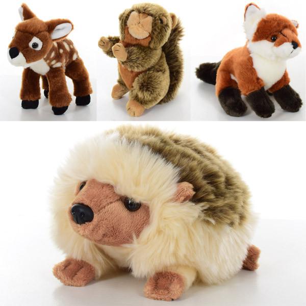 Мягкая игрушка SW3683 (24шт) дикие животные,4в(белка,лиса,олень,ёжик), 19см