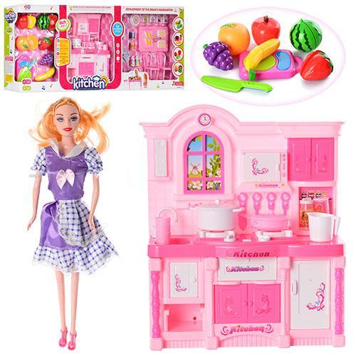 Мебель 6865-A (12шт) кухня,23-28см,продукты на липуч,кукла27см,посуда,зв,св,на бат,в кор,83-33-11cм