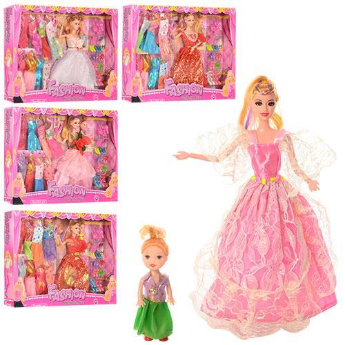 Кукла с нарядом 2336T3 (32шт) 28см,дочка 10см,платья 8шт,аксессуары,микс видов,в кор-ке,51-33-5,5см
