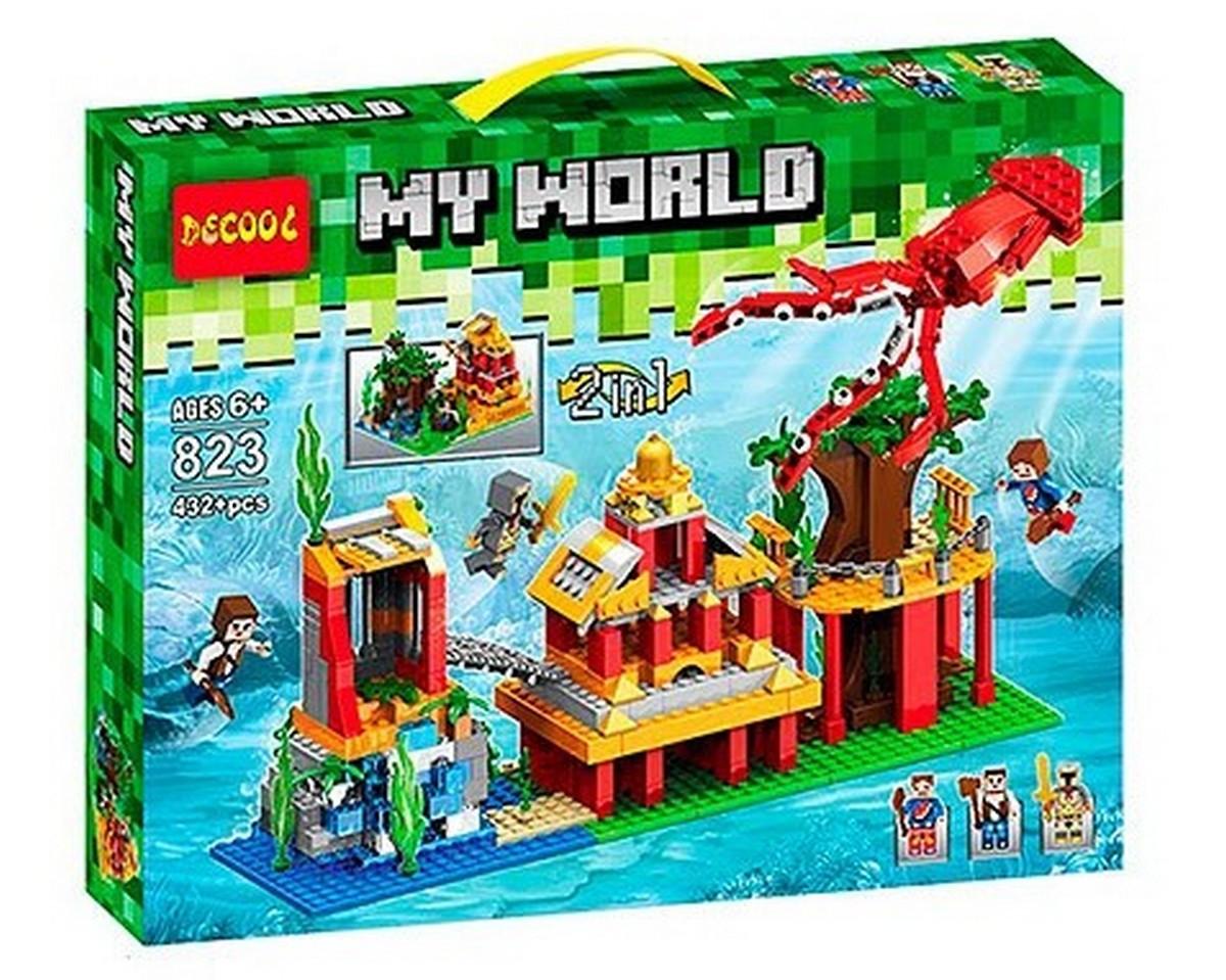 """Конструктор Decool 823 Minecraft \ Майнкрафт ( аналог Lego Minecraft ) """"Підводний світ 2в1"""", 432 деталей ."""