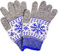 """Шерстяные перчатки подростковые """"Снежинка синяя"""""""