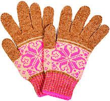 """Шерстяные перчатки подростковые """"Снежинка розовая"""""""