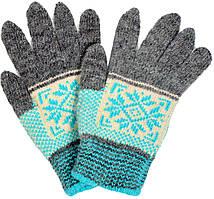 """Шерстяные перчатки подростковые """"Снежинка зеленая"""""""