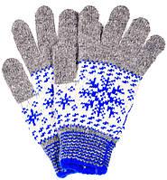 """Шерстяные перчатки женские """"Снежинка голубая"""""""