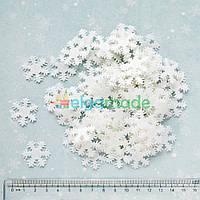 Вырубки из фетра СНЕЖИНКИ белые, 25 мм, 95-100 шт