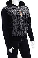 Велюровый женский спортивный костюм ЧБ капюшон K112 Леопард, 6XL