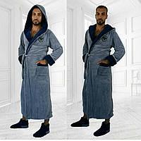 Мужской махровый халат с капюшоном. АРТ-006.2