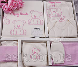 Трикотажный набор 10 предметов молочно-розового цвета