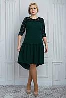 Нарядное ассиметричное платье с гипюровыми рукавами