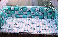 """Комплект в детскую кроватку """"Мятный бомбон"""". Бортик на три стороны и постельное белье"""