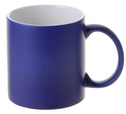 Кружка со сменой цвета синяя матовая